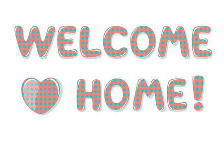 Welcome Home text with colorful polka dot design Stock fotó - 60240700