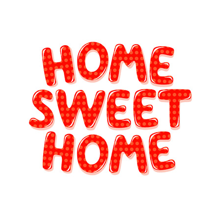 Home Sweet Home text in red polka dot design Stok Fotoğraf - 60240704