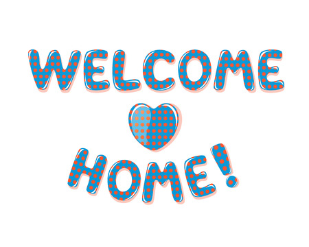 Welcome Home text with colorful polka dot design Stok Fotoğraf - 60240699