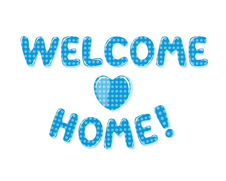 Welcome Home text with blue polka dot design Stok Fotoğraf - 60240749