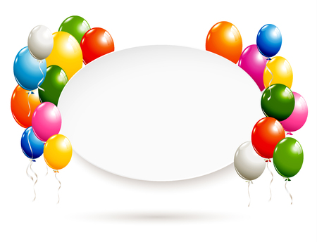 White oval banner with colorful balloons