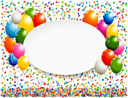 White oval banner with colorful balloons and confetti Stok Fotoğraf - 60240746