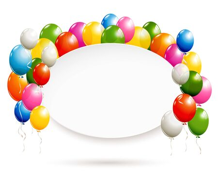 White oval banner with colorful transparent balloons