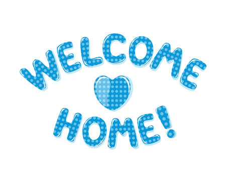 Welcome Home text with blue polka dot design Stok Fotoğraf - 60240747