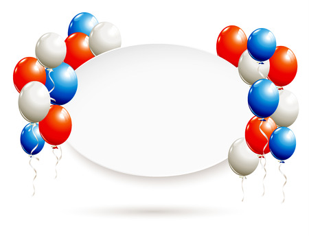 White oval banner with balloons in red, blue, white Stok Fotoğraf - 60240744