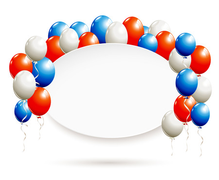 White oval banner with balloons in red, blue, white Stok Fotoğraf - 60240764