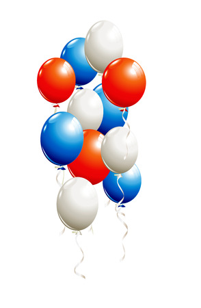 Balloons in red, blue, white isolated on white Stok Fotoğraf - 60240762