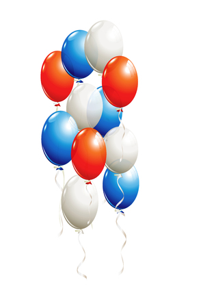 Balloons in red, blue, white isolated on white Stok Fotoğraf - 60240763