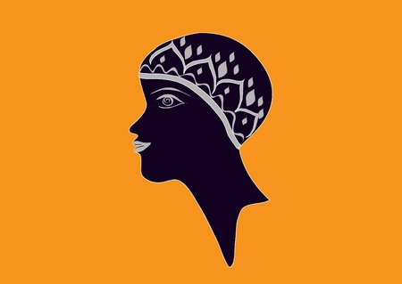 Black profile of the female head and neck  Stock Vector - 18529014