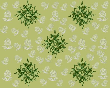 octagonal: Gray buds of a flower, leaves and octagonal elements of green color