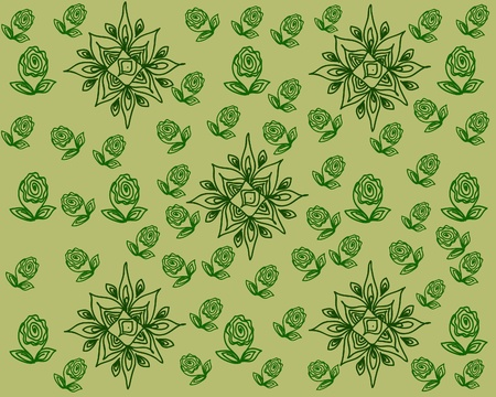 octagonal: Abstraction  Flower bud, leaves, octagonal elements of green color