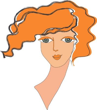 pelo ondulado: La persona, el cuello y el rojo, pelo ondulado de la chica sobre un fondo blanco es grande