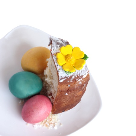 Portion of the easter Easter cake, three colored eggs on a white plate  It is isolated on a white background  photo