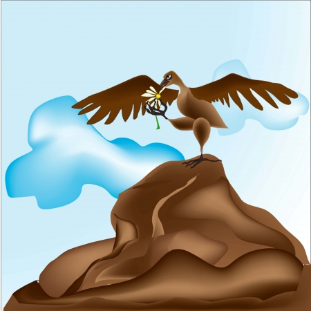 The eagle at top of the rock guesses on a camomile  loves  doesn t love