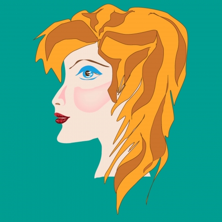 ruddy: Ruddy, fair-haired woman  Drawing by hand  Vector illustration