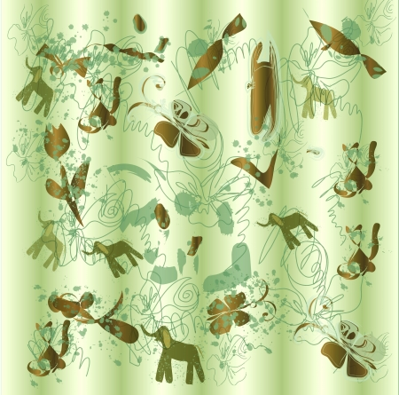 Elephants, blots, butterflies in the abstract raster background