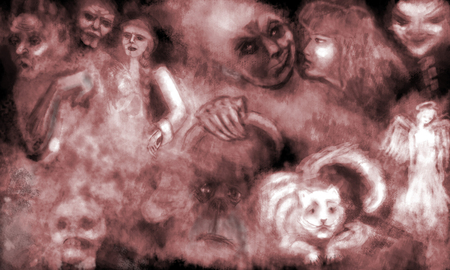 Terrible ghosts from a bad dream  Horizontal illustration