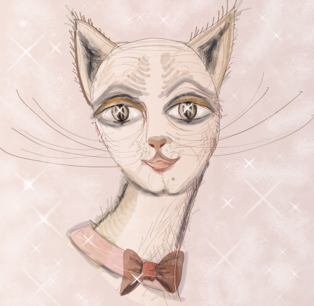 Beautiful, impudent muzzle of a cat with a bow  Square illustration  illustration
