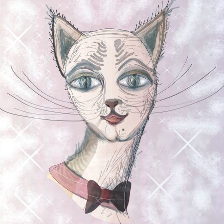 inaction: Beautiful, impudent muzzle of a cat with a bow  Square illustration