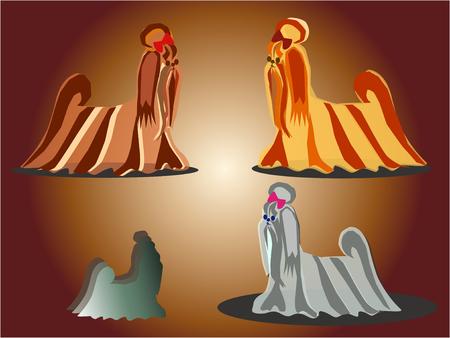 shih tzu: Small, decorative doggie  Horizontal vector illustration  Illustration