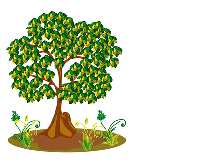 sawn: Tree and plants  Horizontal vector illustration Illustration