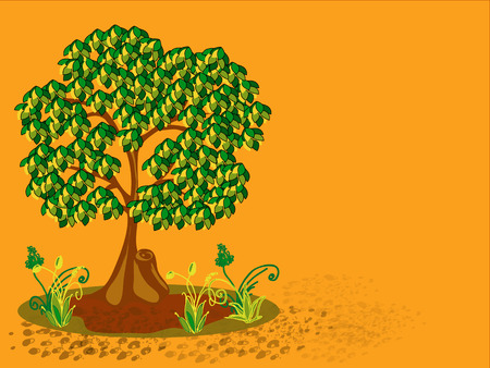 sawn: Tree with yellow and green leaves  Horizontal vector illustration