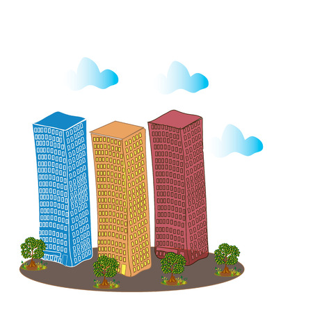 Multi-storey buildings, trees and clouds  Square vector illustration