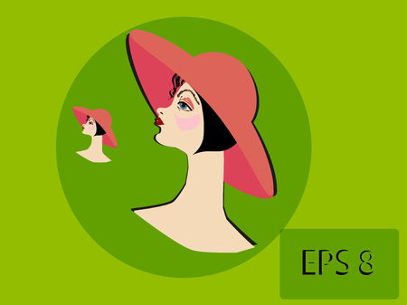 half turn: Female head in a pink hat  Horizontal vector illustration