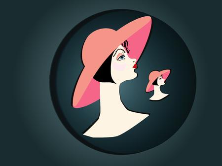 cabeza femenina: Cabeza de mujer con un sombrero de color rosa Horizontal ilustraci�n vectorial Vectores