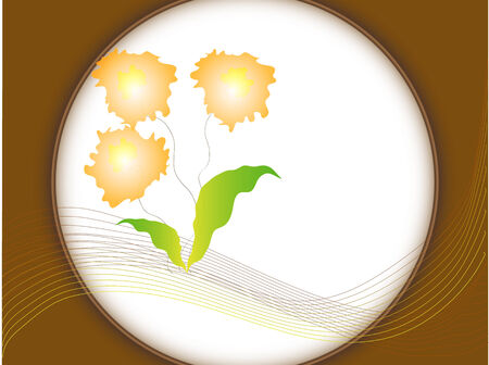 Three flowers and leaves in an abstract vector illustration