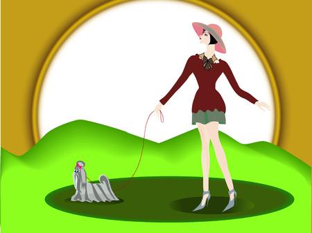 a bough: Гордая девушка идет с маленькой собачкой  В полный рост  Горизонтально  The proud girl goes with a small doggie  To the utmost  Horizontally  Illustration