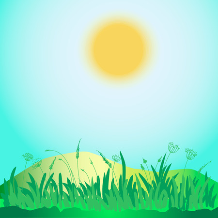 rounding: Green grass, hills, sun and sky  Square illustration