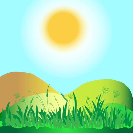 Green grass, hills, sun and sky  Square illustration