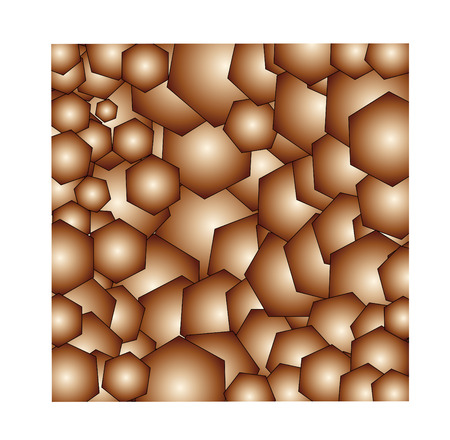 Golden background from hexagons  Square illustration vector