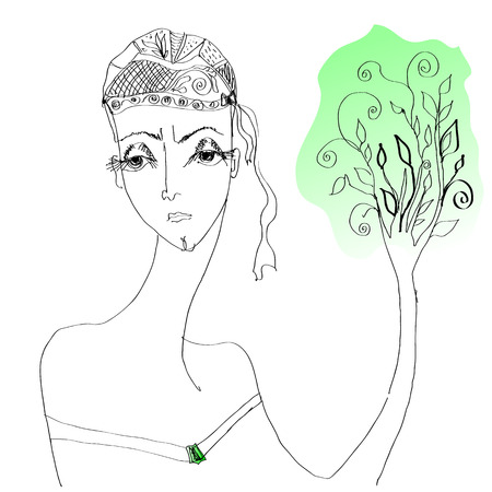 Conceptual vector image   The woman - Life Continuation    Updating tree symbol