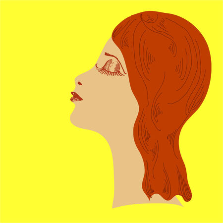 blindly: Profile of the woman blindly  Square vector illustration