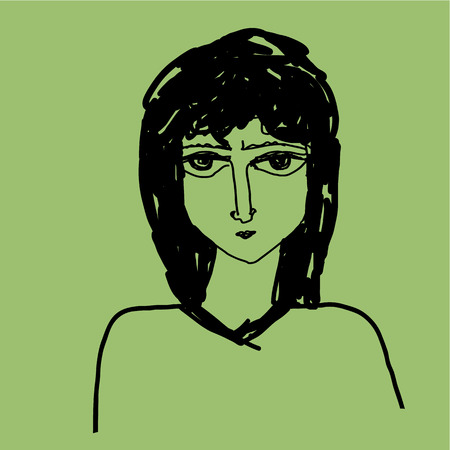 abstract portrait: Abstract, portrait of the girl  Square vector illustration  Illustration