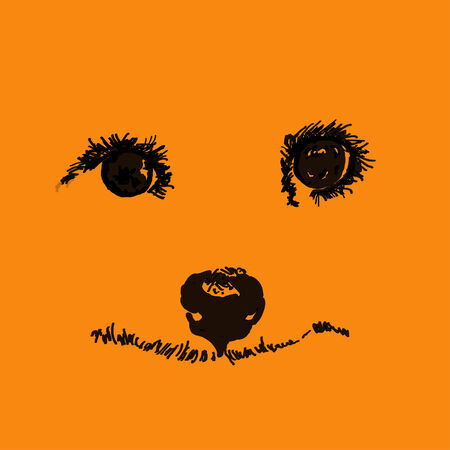 doggie: Eyes, nose and doggie smile on an orange background
