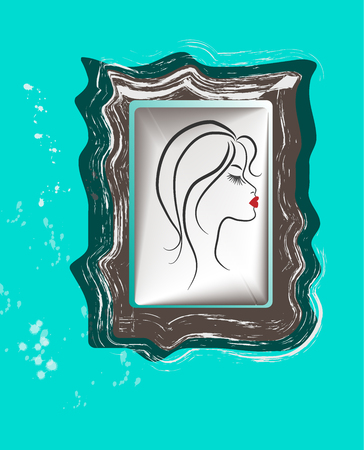 closed mouth: Profile of the girl in a frame  Eyes are closed  Bright, red mouth  Illustration
