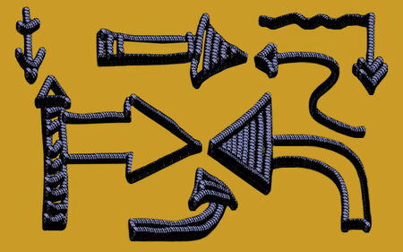 Set of arrows of a different form  Rope imitation  Horizontal illustration  Stock Photo