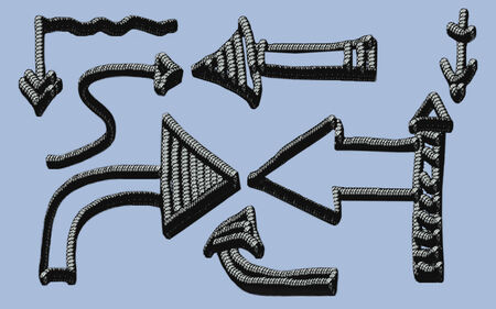 indexes: Set of arrows of a different form  Rope imitation  Horizontal illustration  Stock Photo
