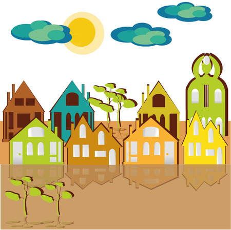 building lot: Eight houses, sky and clouds