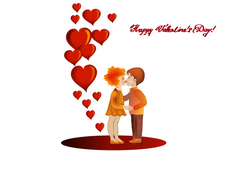 strictly: Happy Valentine s Day card    Hearts, couple kiss    Horizontally    Vector illustration