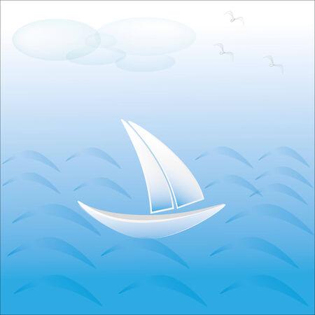 sailing vessel: Buque de vela en el mar Nubes azules y gaviotas en el cielo Vectores