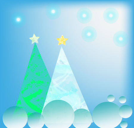 firtrees: Abstract New Years background with fir-trees, stars and spheres Stock Photo