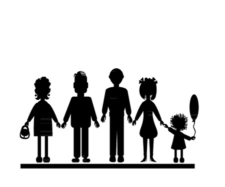 Family silhouette: the father, mother, the daughter and the grandfather with the grandmother. Vector illustration. Vector