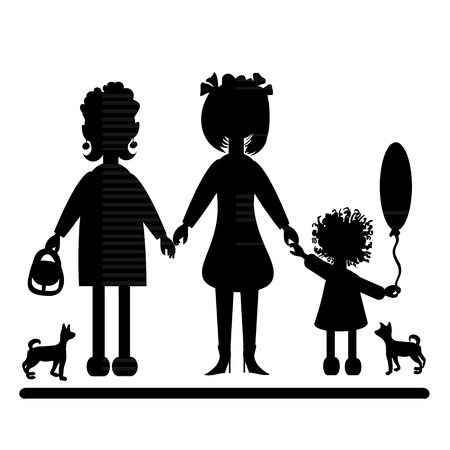 Black silhouette of three women of different age and little dogs.  Vector illustration. Vector