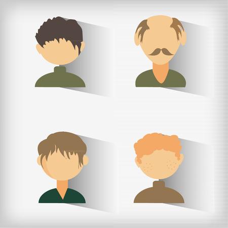 sociable: Set from four avatars of men. Vector illustration.