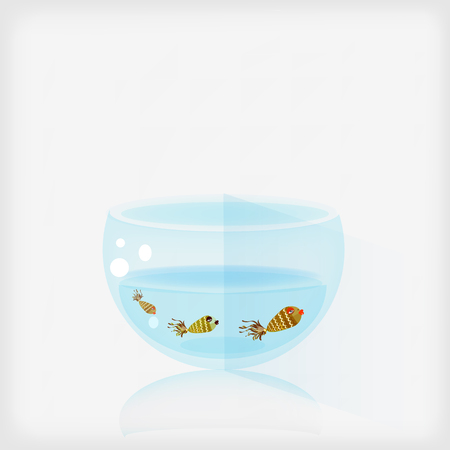 In a fishbowl live three fish. Square vector illustration. Vector