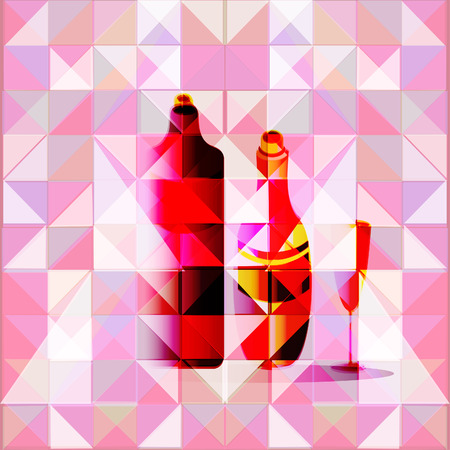 prerequisite: Two bottles of wine and wine glass on a geometrical, abstract background. Illustration